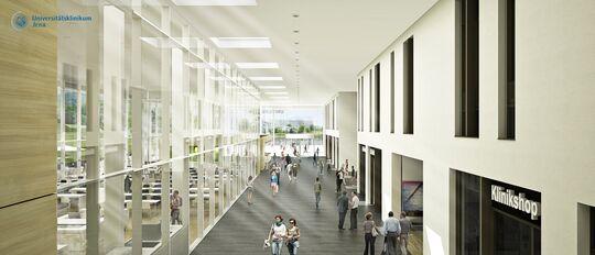 So sieht der neue Eingangsbereich des UKJ nach der Fertigstellung aus. Visualisierung: woernerundpartner